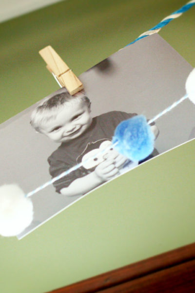 Pom Poms, a Photo Garland & Watercolors