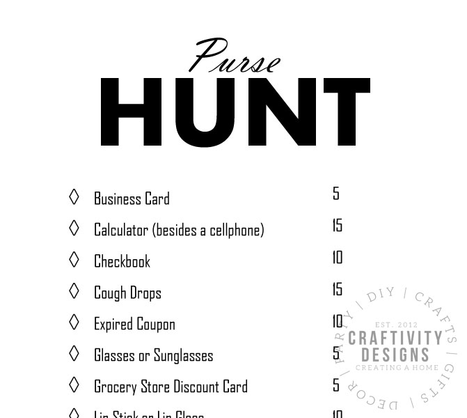 purse hunt, printable bridal shower game