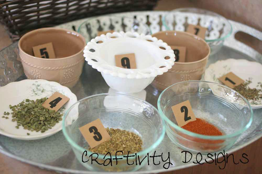 herbs in dishes, bridal shower game