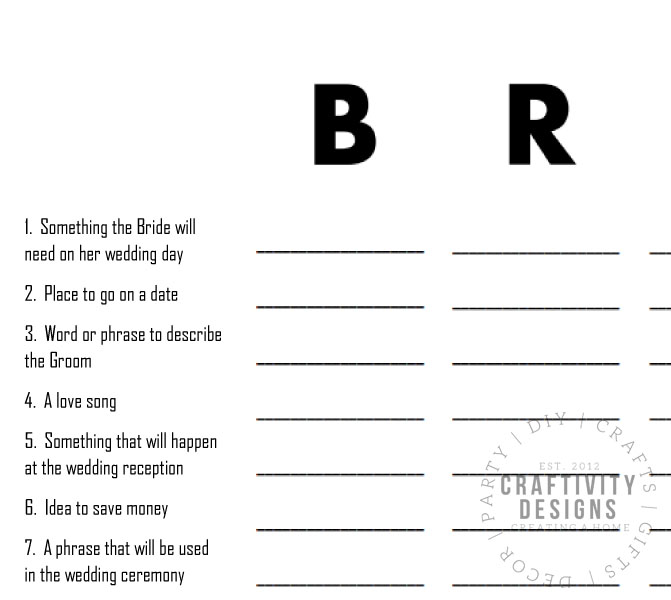 bridal scattergories bride printable bridal shower games