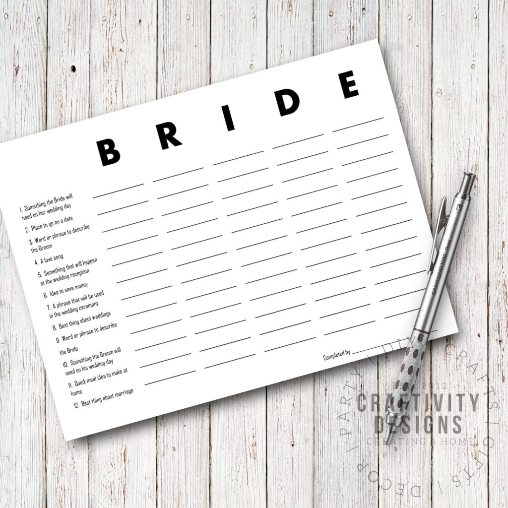 bridal scattergories, BRIDE, printable bridal shower games