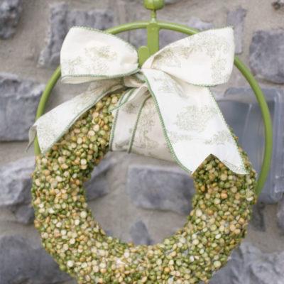 A Split Pea Wreath for the Porch