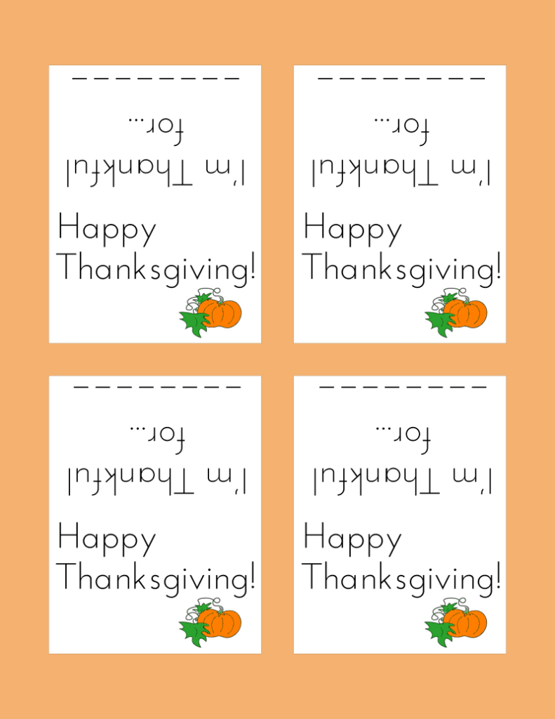 Day 25 Thanksgiving Place Cards Craftivity Designs