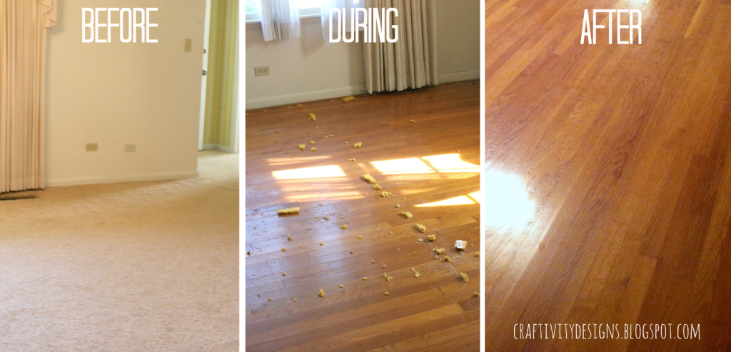 How to remove carpet staples from wood floors the easy for Before and after flooring