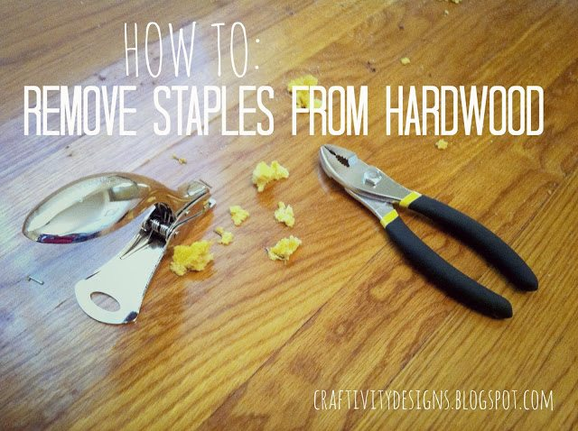 the best tools, heavy duty stapler and pliers, to remove carpet staples from hardwood easily