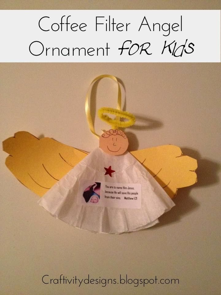 Kids Craft Coffee Filter Angel Ornaments Craftivity Designs