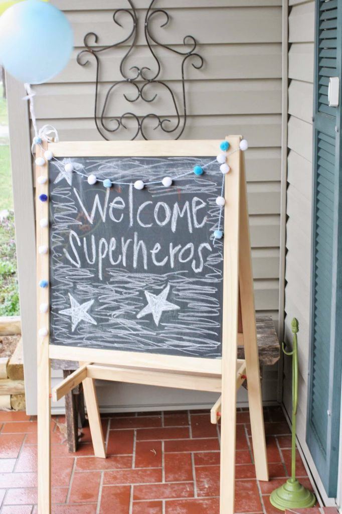 Superhero Sign - Welcome Superheroes! (note: spelling is incorrect in photo)