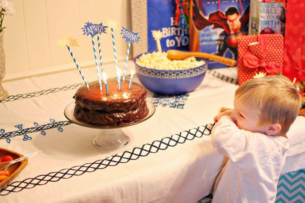 Superhero Birthday Cake with Superhero Cake Toppers