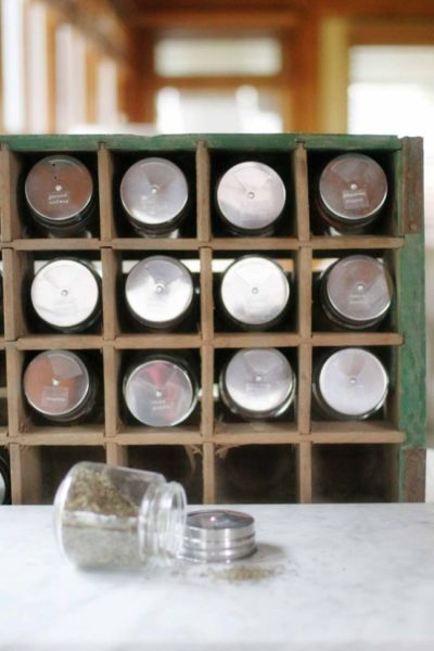 Spice Jar Organization in a Soda Crate