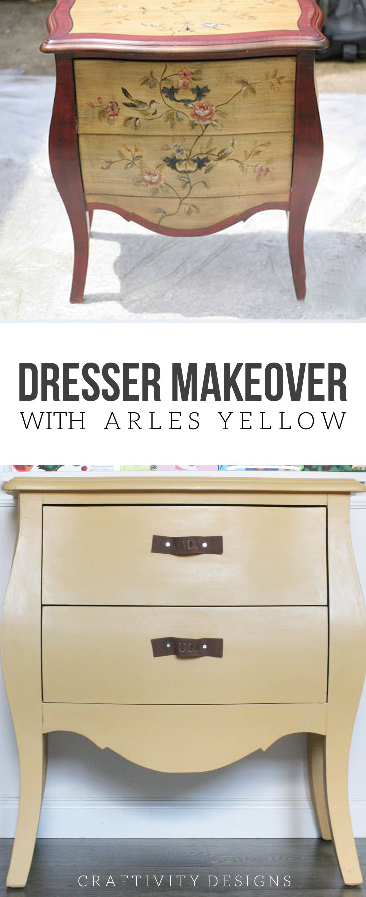Colorful Painted Dresser Makeover with Arles Yellow, Yellow Dresser, Painted Furniture, Furniture Makeover, Annie Sloan Chalk Paint, #ascp, #repurpose, #beforeandafter