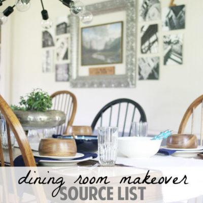 Dining Room Makeover // Source List