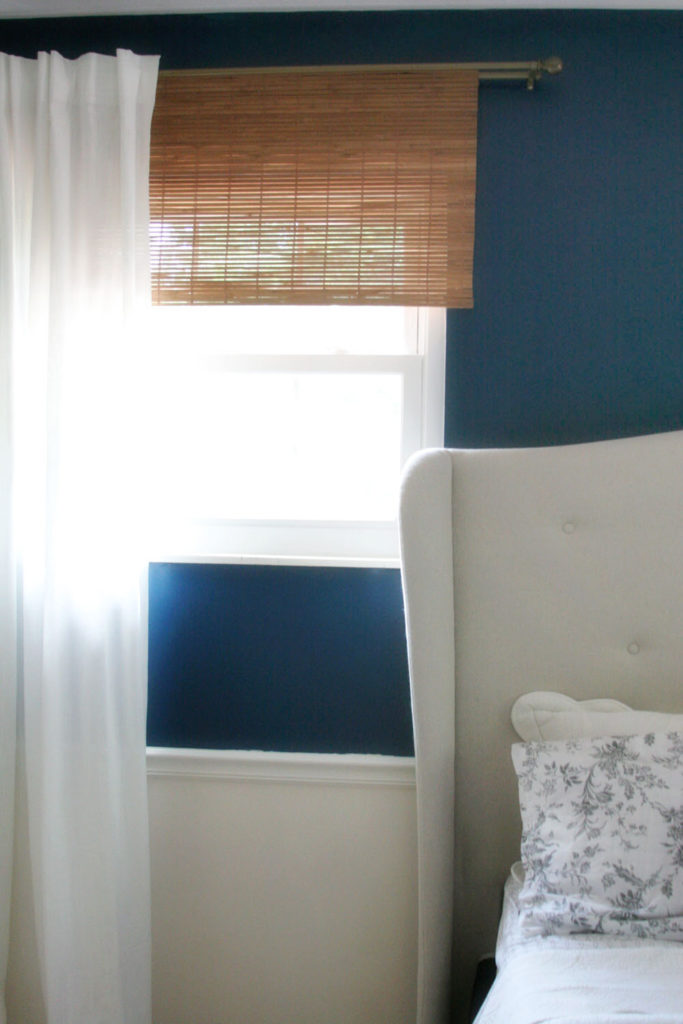 diy bamboo blinds and a white curtain
