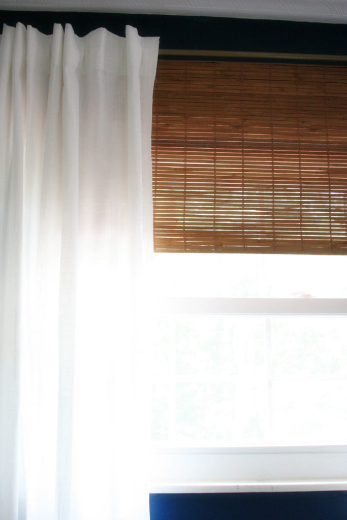 diy bamboo blinds (or bamboo roman shades) and white curtains