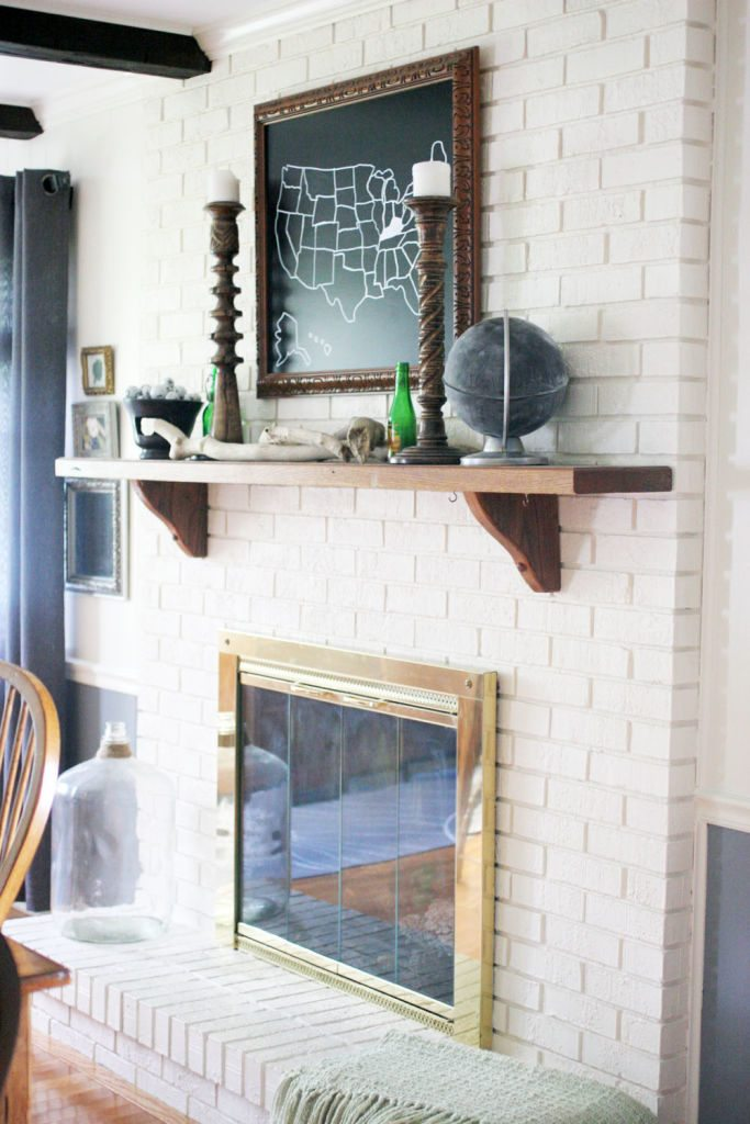 painted brick fireplace, white