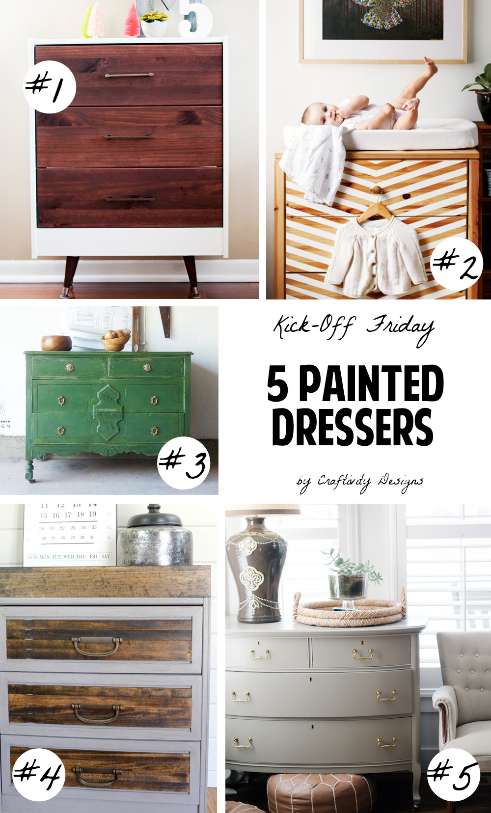 5 Painted Dressers, Painted Furniture Ideas, Furniture Makeovers,  Repurposed Furniture, #repurpose