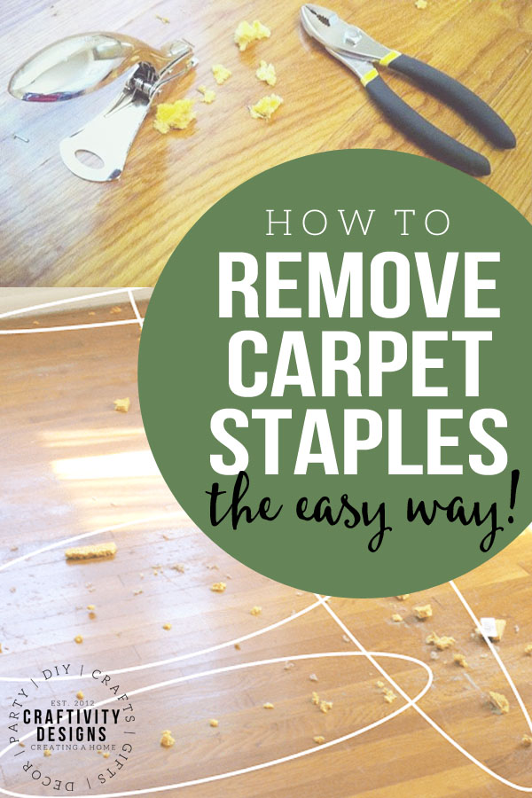 carpet staples being removed from a wood floor
