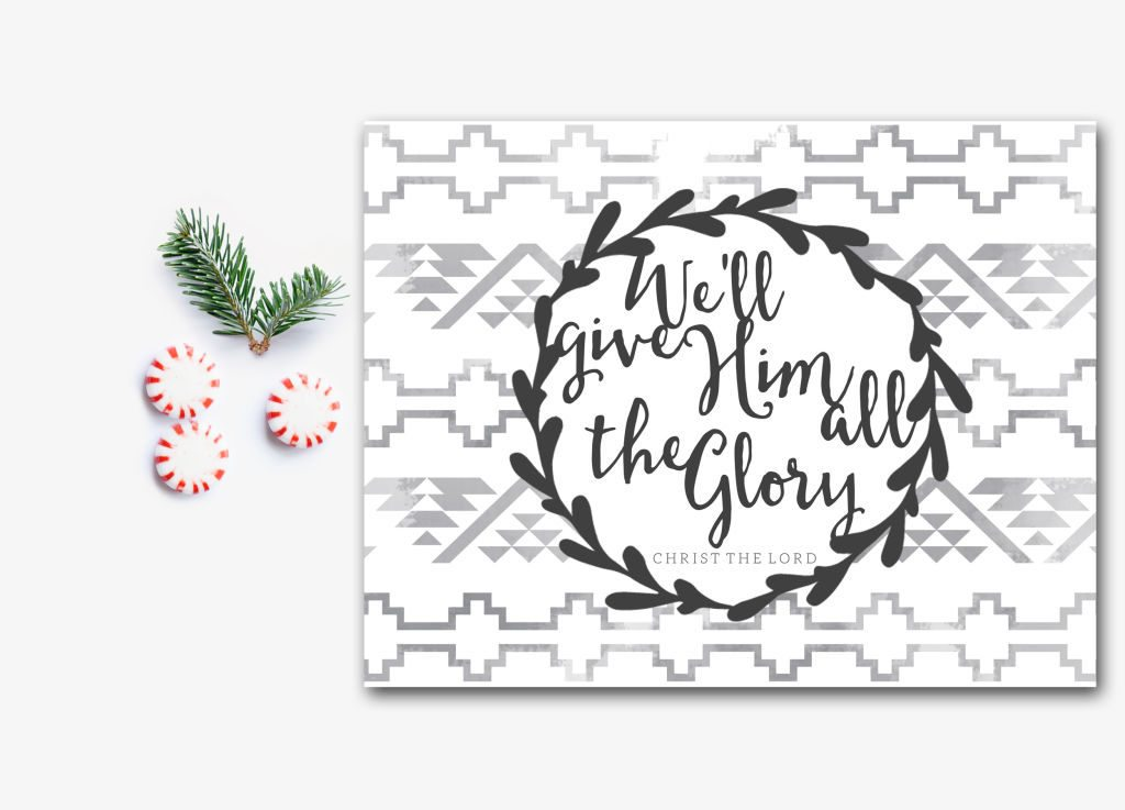 I love the modern aztec / tribal vibe of this Christmas art. We'll give Him all the Glory! Available in printable & print forms.