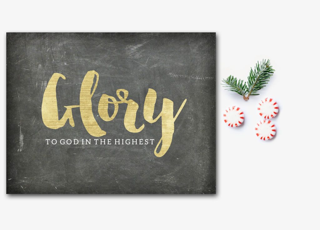 A simple, chalkboard style, Christmas gift. Glory to God in the Highest! I love the mix of black and gold! Available in printable & print forms.
