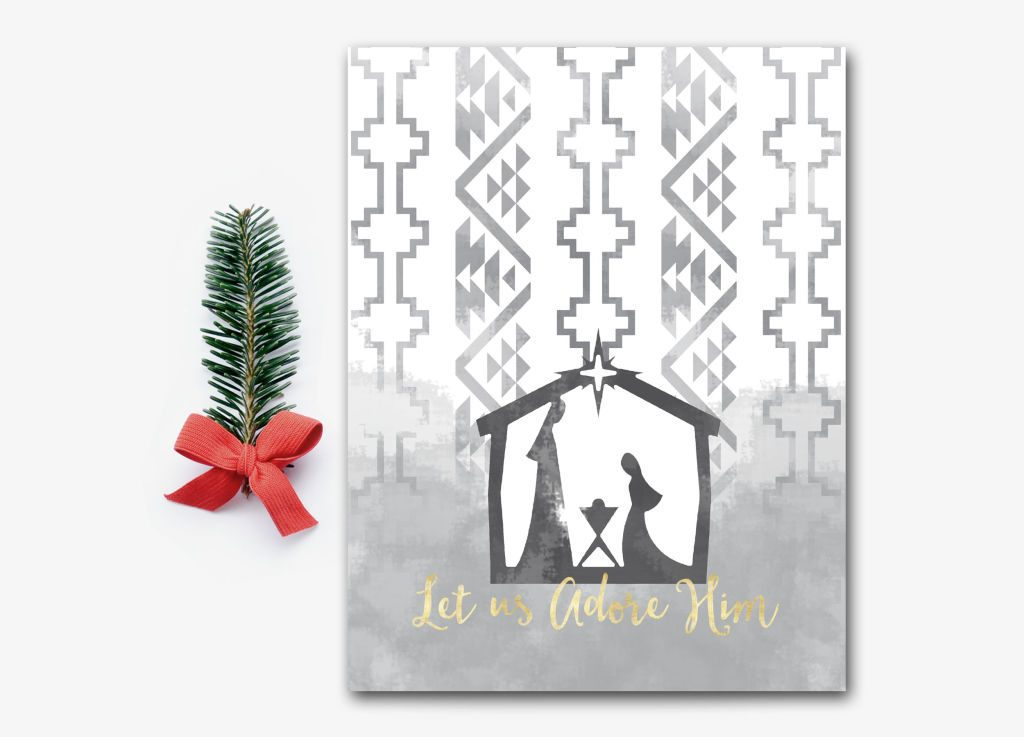 I love the modern aztec / tribal vibe of this nativity. Let us Adore Him! Available in printable & print forms.