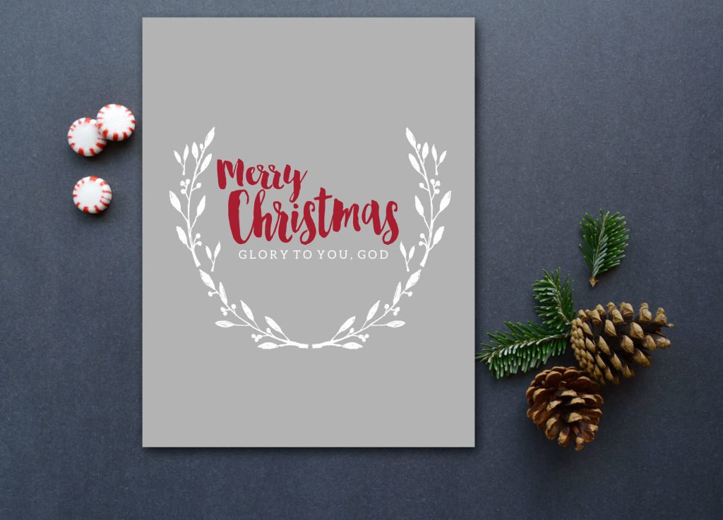 This is the perfect mix of traditional and modern for Christmas art. I love the mix of grey, white and red! Available in printable & print forms.
