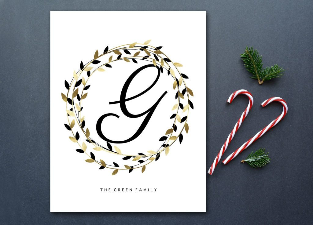 A modern and affordable personalized Christmas gift. I love the mix of black and gold -- it could be used all year long! Available in printable & print forms.