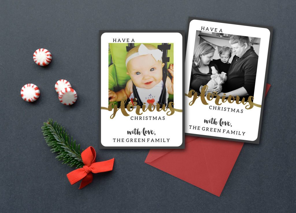 I love this modern, Instagram 5x7 for my family Christmas Card! The mix of black and gold keeps our family photo as the focus. Available in printable & print forms.