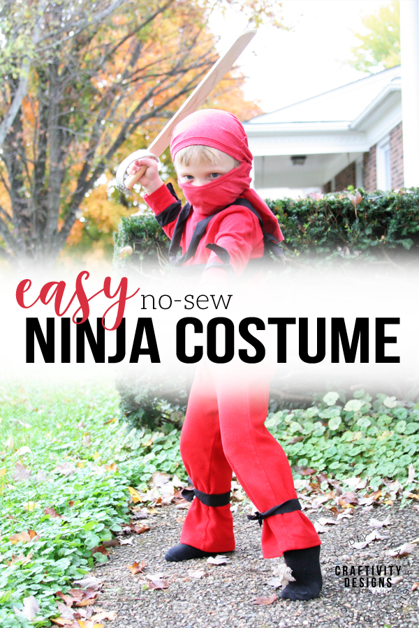 easy ninja costume, no-sew red ninja costume