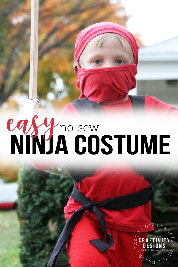 easy no-sew ninja costume, red ninjago costume for Halloween