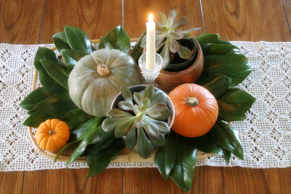 thanksgiving centerpiece with pumpkins and magnolia leaves