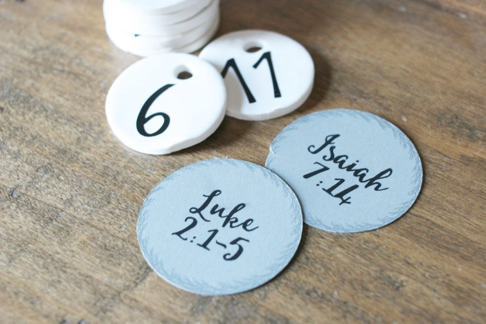 Make a DIY Advent Calendar with handmade clay tags. Each day, open an ornament to hang on the tree and read scripture. Includes a free Printable with the scripture. by @craftivityD