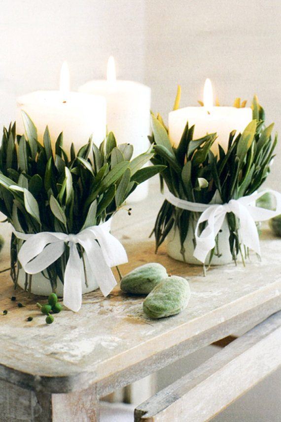 magnolia leaf candle wrap