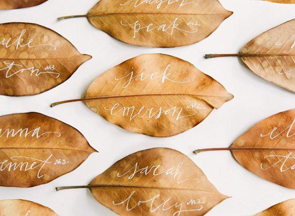 magnolia leaves placecards