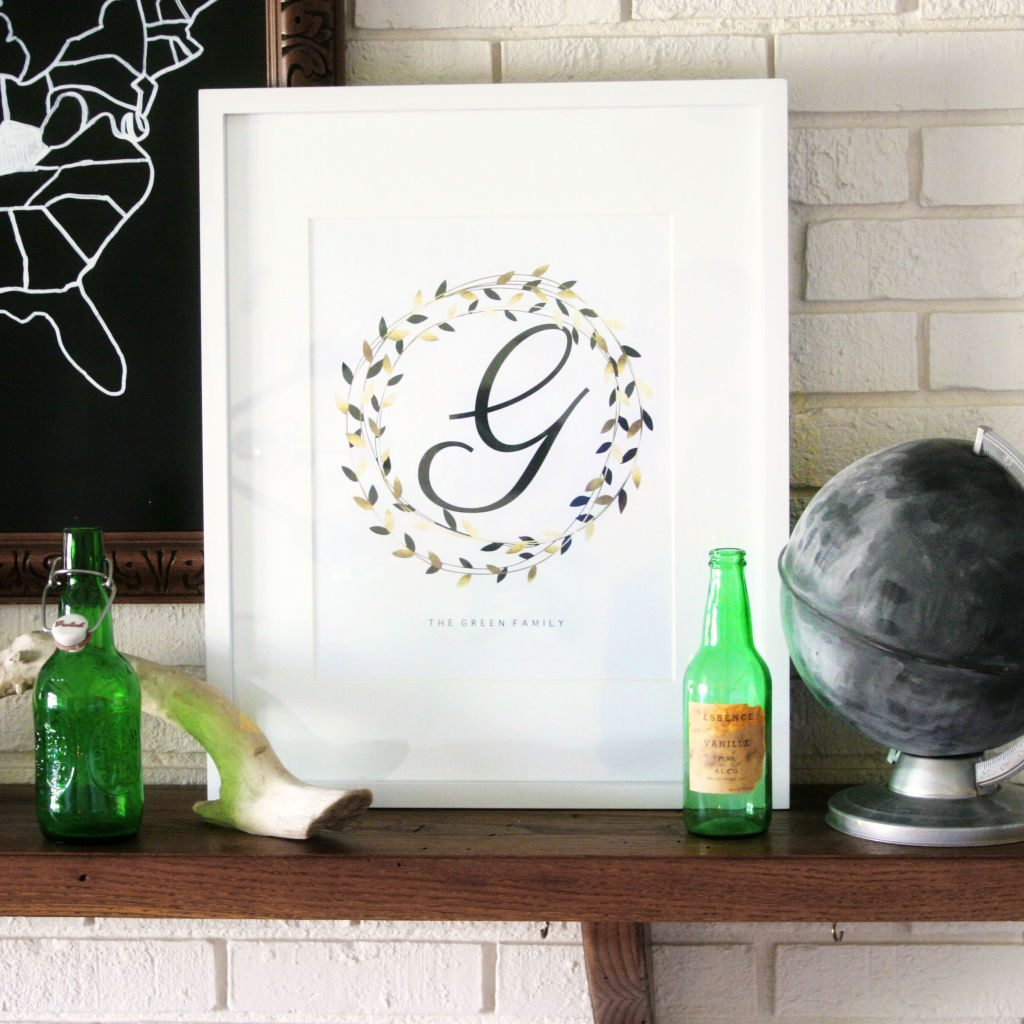 simple wreath monogram
