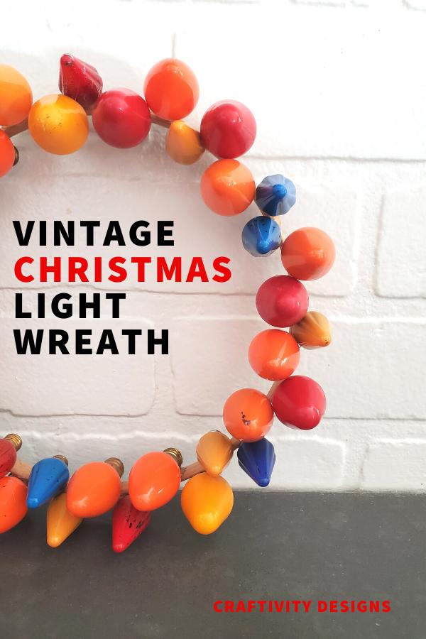 DIY Christmas Light Wreath made with Vintage Bulbs