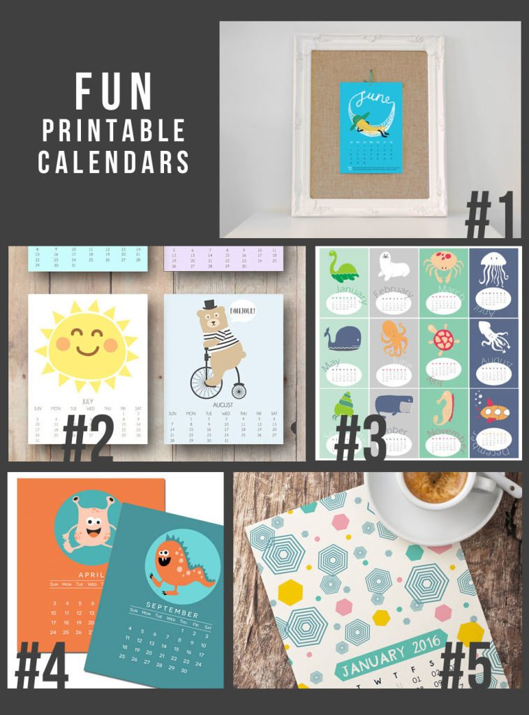 5 Fun Printable 2016 Calendars -- great for kids, too!