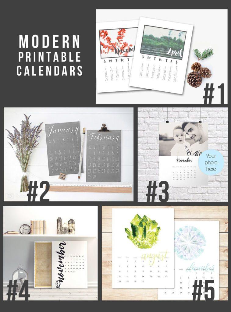 5 Modern Printable 2016 Calendars