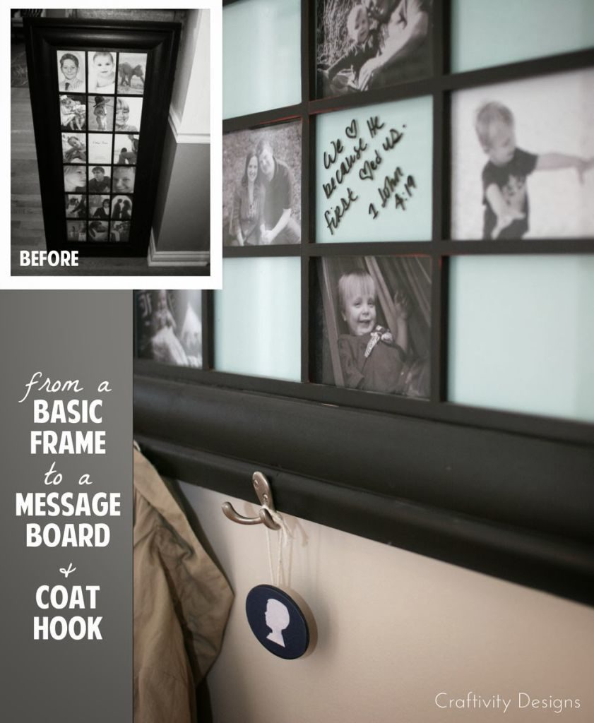 10 Most Popular Organization Ideas - #8 Turn an old frame into a coat rack and get the entry organized - by @CraftivityD