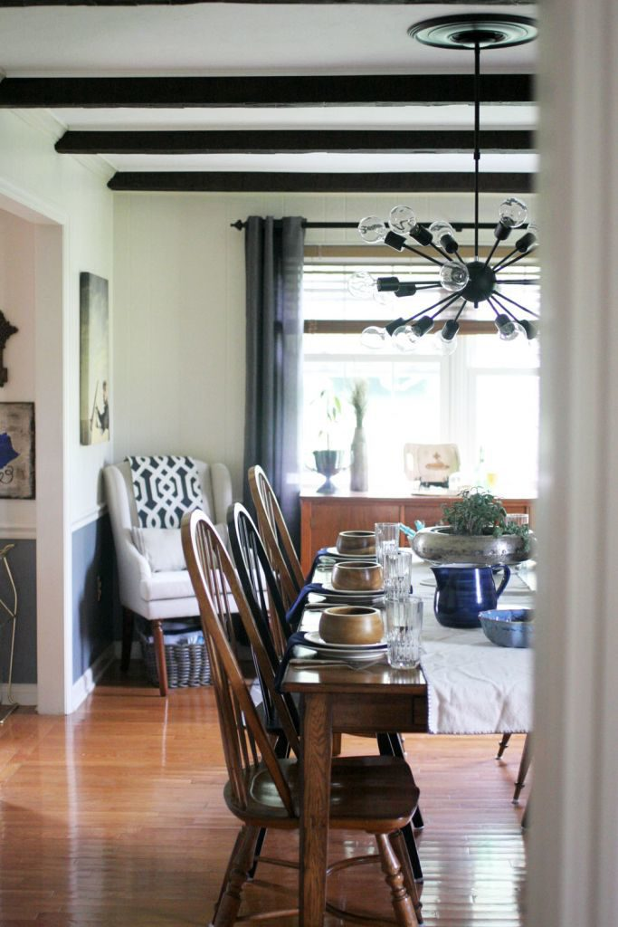 Dining room makeover including grey, white, black and wood tones. Light & Bright Eclectic Home Tour by @CraftivityD