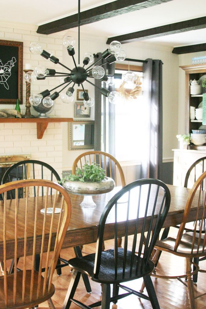 Dining room makeover including grey, white, black and wood tones. by @CraftivityD