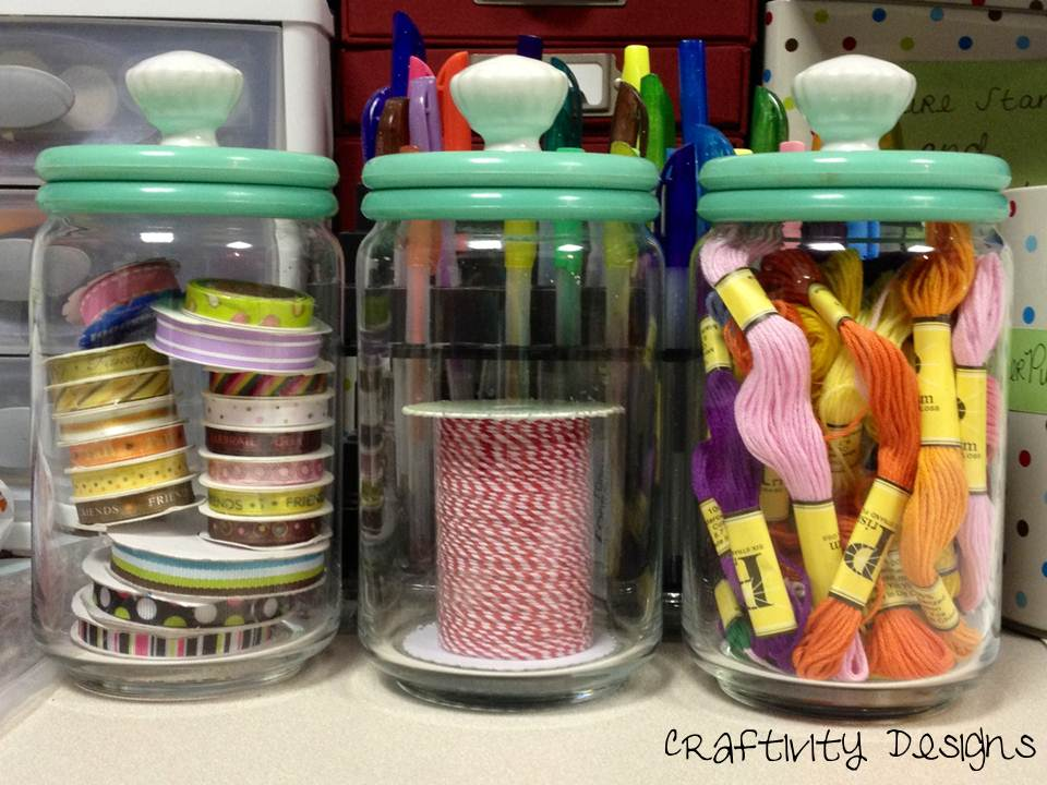 10 Most Popular Organization Ideas - #3 Re-purpose Jars for Small Item Storage - by @CraftivityD