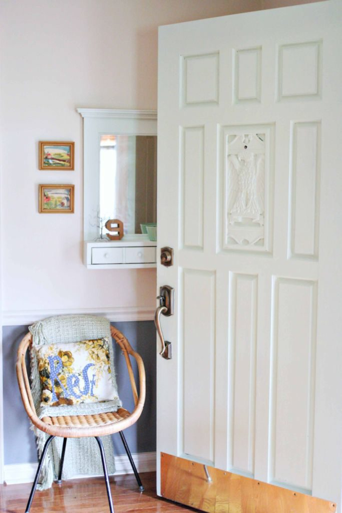 Entry makeover including gray, soft greens, map wallpaper, and stairway gallery wall. by @CraftivityD