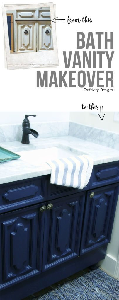 navy vanity // marble counter top // bath vanity makeover // cabinet maekover