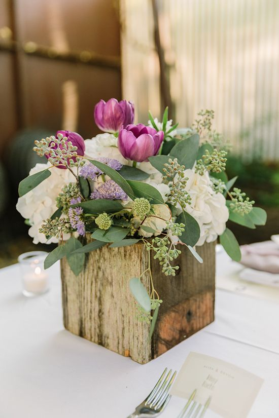15 Spring Floral Arrangement Ideas // Purple and Green, Tulips