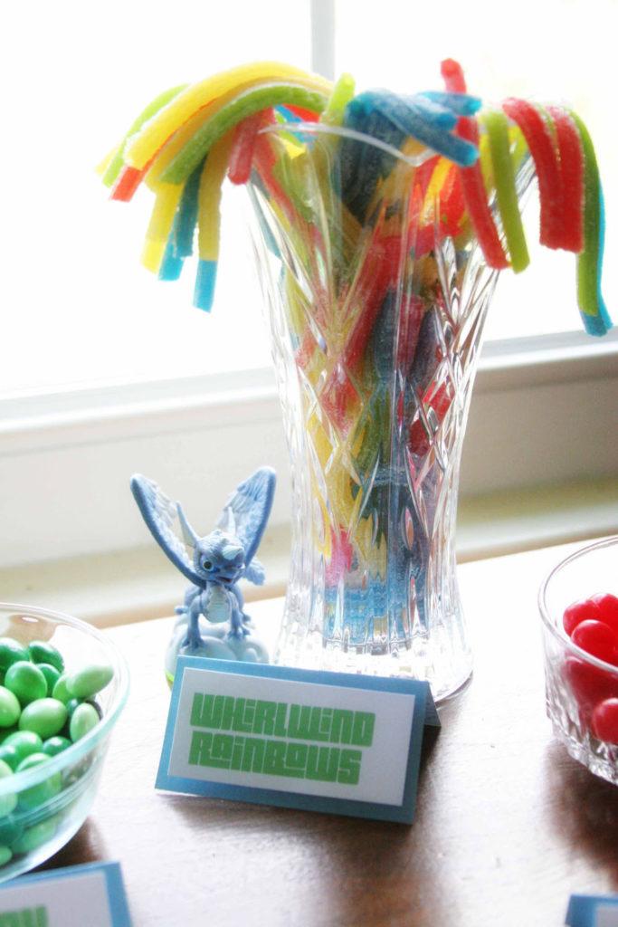 Whirlwind Rainbows, Easy Skylanders Birthday Party, Candy Bar, Party Favor, by @CraftivityD