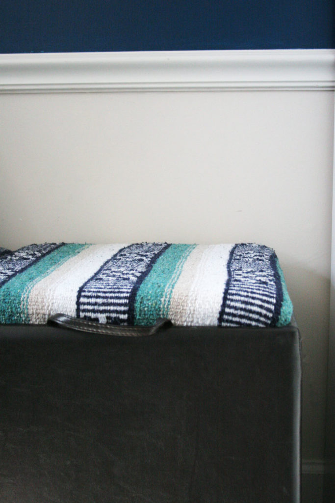 Storage Ottoman Makeover -- Reupholster an Ottoman -- Update a plain Ottoman or Bench with a Festival Blanket -- Mexican Blanket Projects -- DIY by @CraftivityD