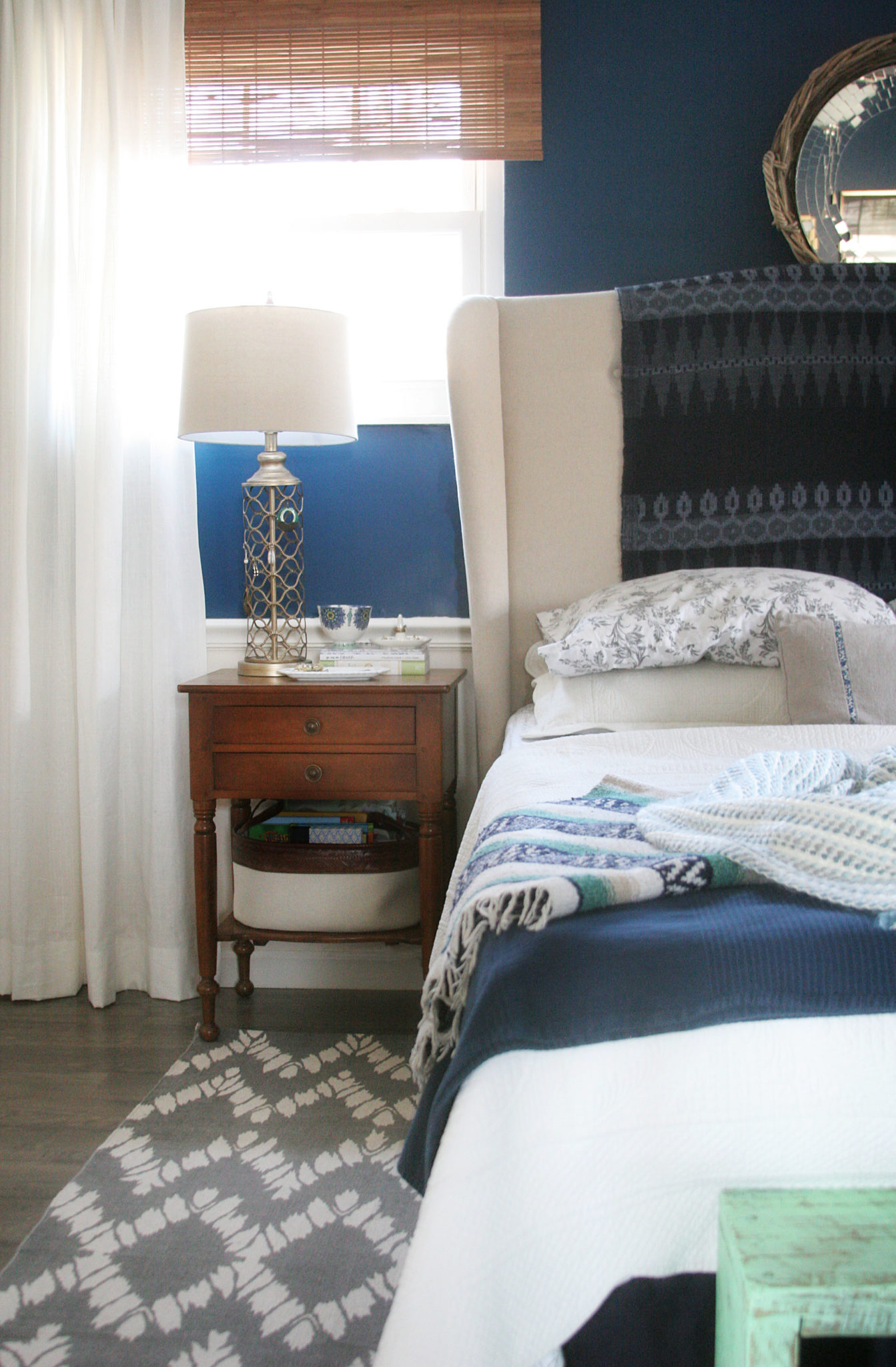 Master Bedroom Makeover // Grey Rug, Navy Walls, White Curtains, White  Bedding