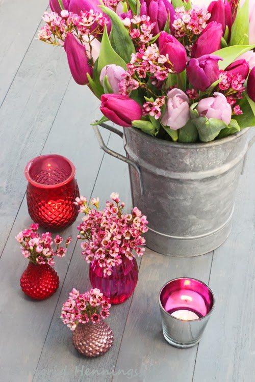 15 Spring Floral Arrangement Ideas // Pink, Tulip