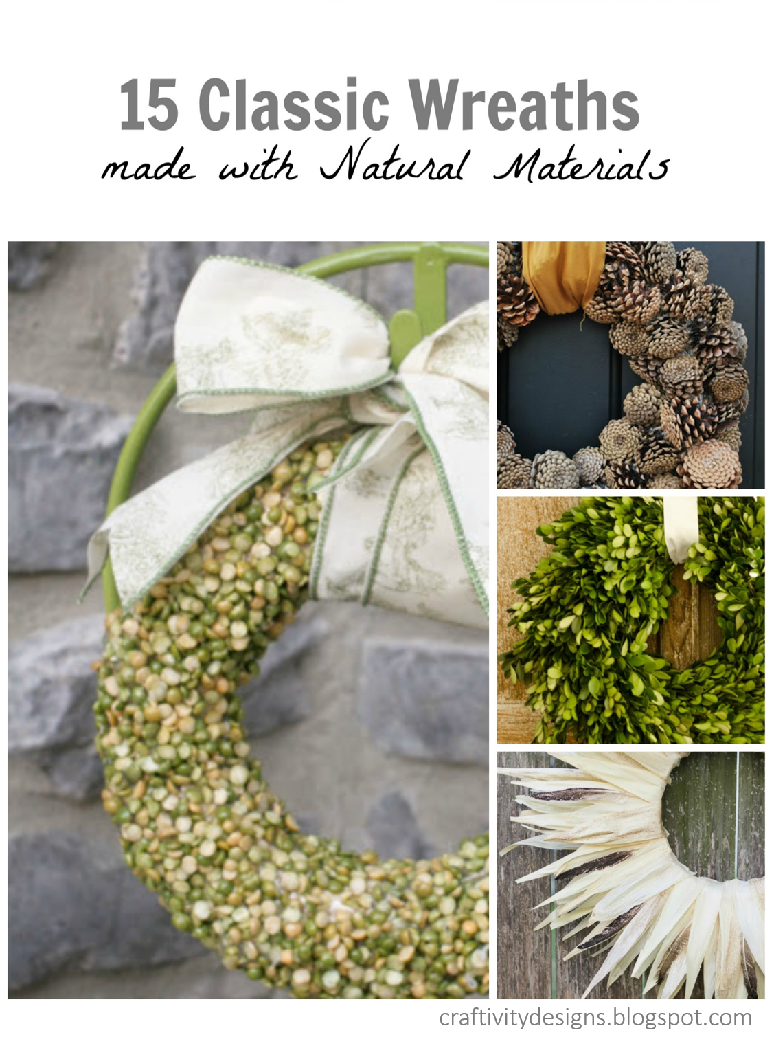 15 Classic Wreaths made with Natural Materials by @CraftivityD