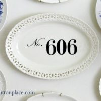 Vinyl Numbers on a Decorative Plate