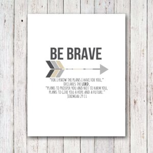 Scripture Art Graduation Gift, Be Brave, by @CraftivityD